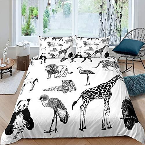 Safari Animals Juego de funda nórdica Tiger Lion Leopard Funda de edredón Jirafa Flamingo Panda Eagle Juego de cama Juego de colchas con estampado de vida silvestre Funda con 1 funda de almohada Tamañ
