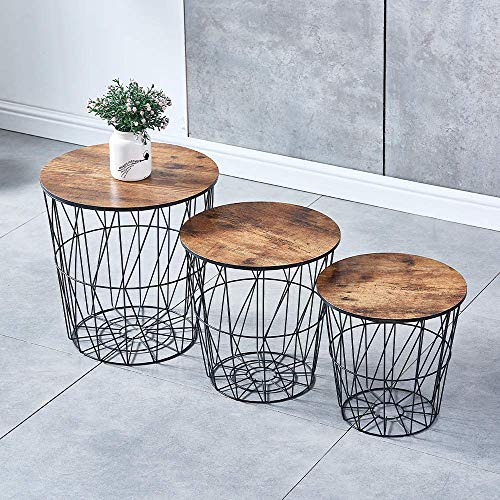 GWFVA Round Nesting Tables with Black Metal Frame, Modern Marble Look Wooden Nested End Table Set with Storage, Living Room Sofa Side Tables (Oak, Set of 3)