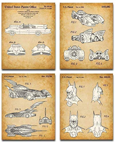 Original Batmobile Patent Art Prints - Set of Four Photos...