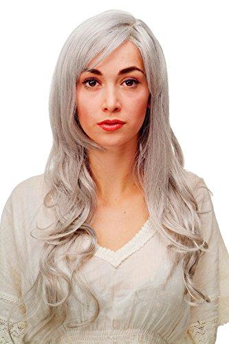 WIG ME UP - 9204S-51 Perruque aux magnifiques cheveux longs bouclés/ondulés d'un mélange blanc-gris, frange et raie de côté, env. 70 cm