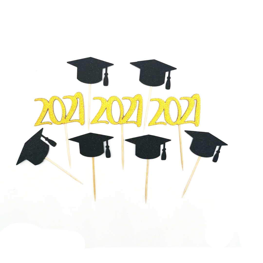 2021 Graduation 2021 model Cupcake New color Toppers Party Golden2021 Deco