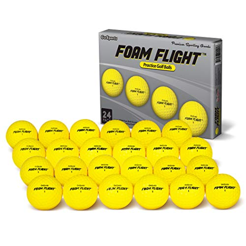 GoSports Foam Flight Practice Golf Balls 24 Pack - Yellow (GOLF-BALLS-FF-24-YELLOW)