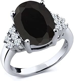 Black Onyx & White Topaz 925 Sterling Silver Ring 4.40 cttw 12x10mm Center (Available 5,6,7,8,9)