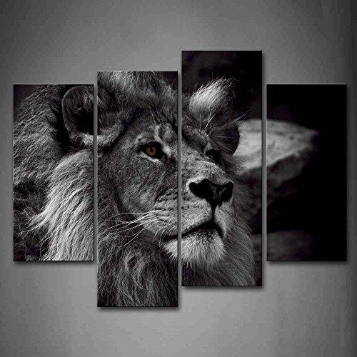 First Wall Art Löwe Bilder Leinwand 4 Teilig Bild Schwarz Weiß Tier Wandbilder Wohnzimmer Moderne für Schlafzimmer Dekoration Wohnung Home Deko Kunstdruck