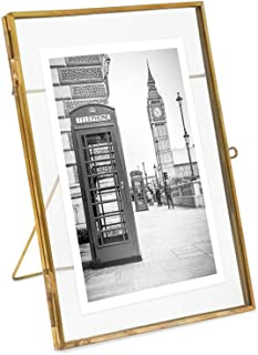 Isaac Jacobs 5x7, Antique Gold, Vintage Style Brass and Glass, Metal Floating Desk Photo Frame (Vertical), with Locket Closure for Pictures, Art, More