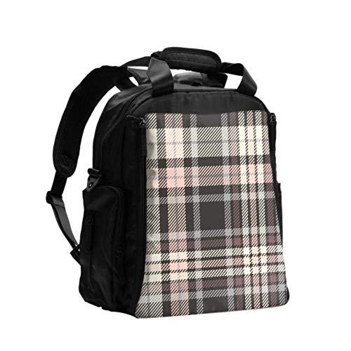 Wickeltasche Rucksack Schöne braune Gitter Tragbare Wickeltasche Multifunktions-Reiserucksack mit Wickelunterlage für die Babypflege