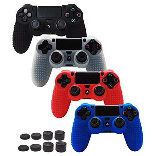 Skin Compatible for PS4 Controller Grips Cover Pandaren Studded Anti-Slip Silicone Sleeve for PS4 /Slim/PRO Controller(Controller Skin x 4 + FPS PRO Thumb Grips x 8)(Black,White,Red,Blue)