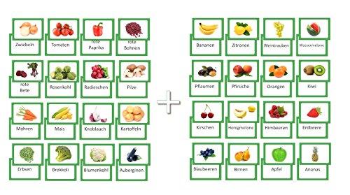 LYSCO® Bildkarten-Set, 16 Obst und 16 Gemüse Vokabel Lernkarten beidseitig Folienkaschiert, 32 Stück