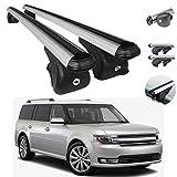 Silver Aluminum Roof Top Wing Bar Cross Bars Cargo Rack - Luggage, Ski, Kayak Carrier | 165 LBS / 75 KG Load Capacity - Set 2 Pcs | Fits Ford Flex 2009-2019
