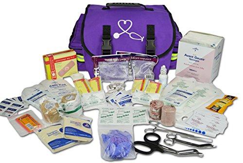 Lightning X Small Medic First Responder EMT Trauma Bag Stocked First Aid Trauma Fill Kit A (Purple)