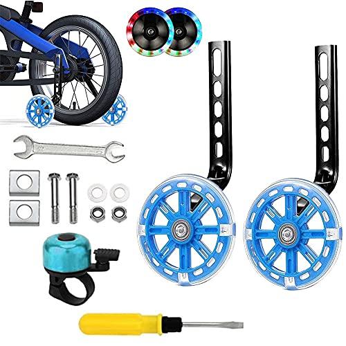 Ambolio Fahrrad Stützräder Kinder,Stützräder für Kinderfahrrad,Kinderfahrrad Stützräder,Verstellbare Fahrradstabilisatoren für 12-20 Zoll,für Kinder Fahrrad Stabilisator Stützräder. (Blitz hellblau)