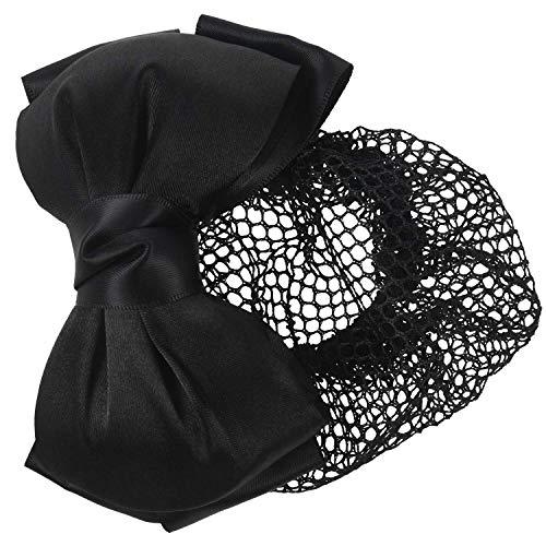 SODIAL Femme Noir Deux Couches Polyester Noeud Papillon Cheveux Bun Couverture Barrette