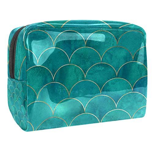 Cosmetic Case Organizer Fish Scale Travel Makeup Bag Compact Makeup Case Waterproof Toiletry Bag for Women Girls 18.5x7.5x13cm