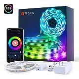 TECKIN Alexa Striscia di luci LED intelligente, 5 metri SMD 5050 RGB LED, con telecomando, striscia flessibile con colori intercambiabili, per tv, stanza da letto, feste e decorazioni