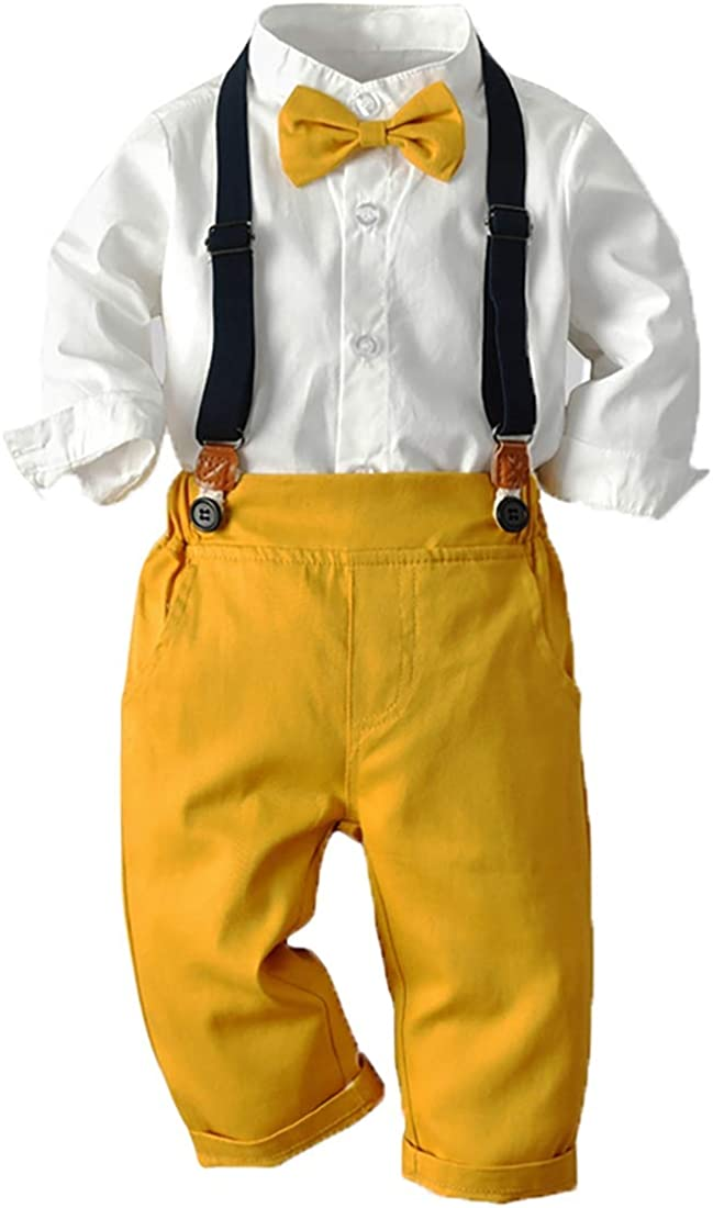 Joe Wenko Baby Boy Clothes Set,Dress Shirt with Bowtie and Suspender Shorts/Pants Outfit