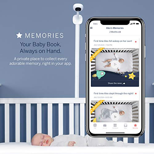 Nanit Complete Monitor System with Breathing Motion Plus Wall Mount + Multistand + Starter Set, one Small Swaddle and one Small Band