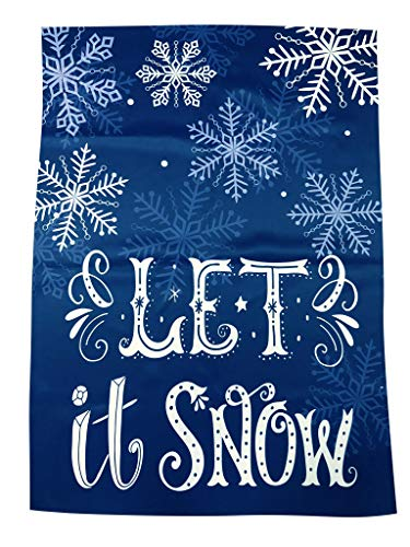 Blue Christmas House Flag Decoration - 28' x 40', Let It Snow, Large, Double Sided, Winter Garden Decor, Christmas Decoration, Boxing Day, Classroom, Daycare, Christmas Tree Lot, Fundraiser