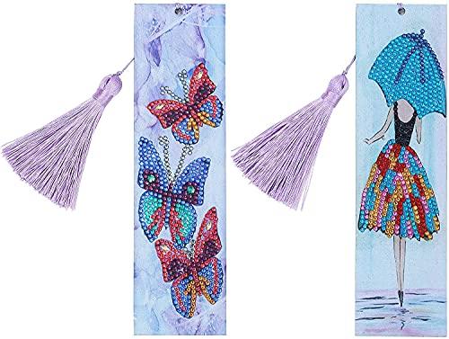 2 pezzi fai da te per pittura a mosaico, kit di segnalibri per balletto, danza e farfalla, segnalibro con nappe in 5D a forma speciale per bambini, adulti, principianti, studenti, regalo 21 x 6 cm