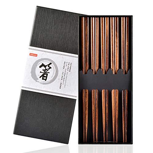 Gimars Essstäbchen,5 Paare Wiederverwendbare Chopsticks,Natürliche Japanische Essstäbchen, Holz Essstäbchen Set für Chinesische Geschirr (Dunkelbraun)