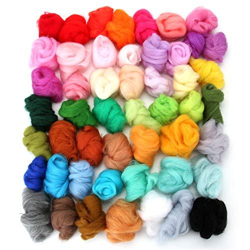 Tosnail 50 Colors Total 250 Grams Wool Roving Felting Wool Wool Yarn Wool Felt for Needle Felting Craft
