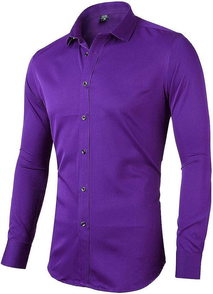 Gergeos Mens Long Sleeve Shirt Button Down Shirts Slim Fit Business T-Shirts Dress Shirt S M L XL XXL