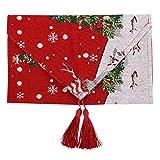 Omabeta Mantel de tela de algodón fácil de limpiar Camino de mesa Navidad para mesas de comedor boda (B muñeco de nieve)