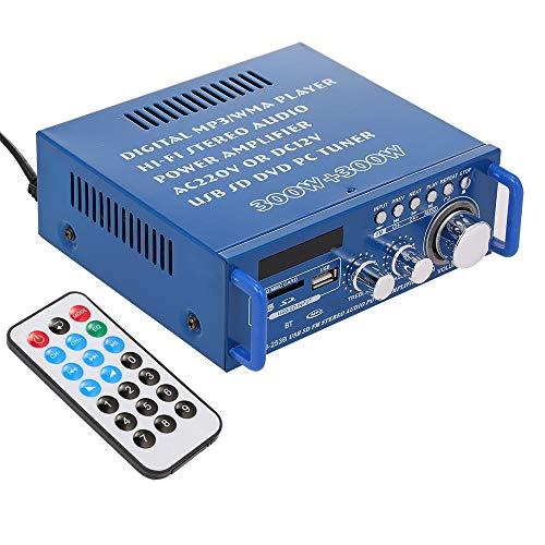 Docooler 600W Mini Audio Leistungsverstärker BT Digitaler Audio-Receiver AMP mit USB SD Steckplatz MP3 Player FM Radio LCD-Display mit Fernbedienung 2kanal 12 V / 220 V für den Heimgebrauch(BLJ-253B)