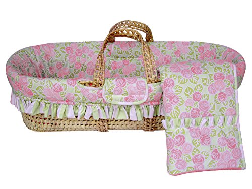Bacati Flower Moses Basket, Pink/Green
