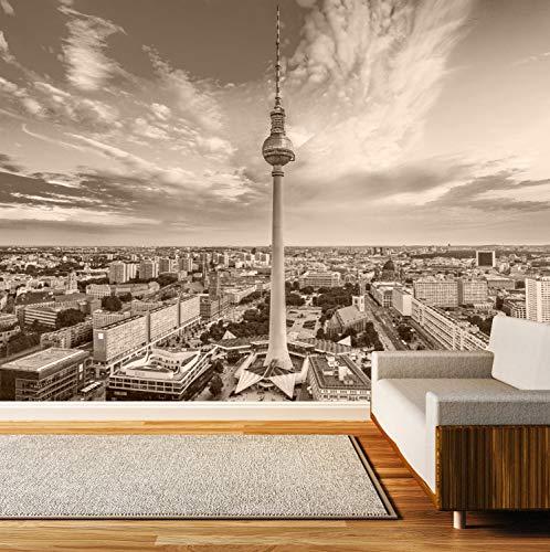 Vlies Tapete XXL Poster Fototapete Berlin Skyline Fernsehturm Farbe sepia, Größe 100 x 80 cm selbstklebend