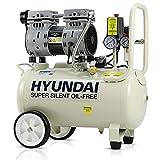 Hyundai 24 Litre Ultra Silent Air Compressor, 100PSI, 5.2CFM, 7 Bar, 750 Watt Portable, Oil Free, Small Air Compressor, 2 Year Warranty, Air Compressor for Workshops, 230V 3 Pin 13 amp Plug, White