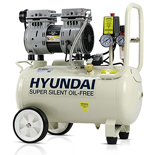 Hyundai 24 Litre Ultra Silent Air Compressor, 100PSI, 5.2CFM, 7 Bar, 750 Watt Portable, Oil Free,...