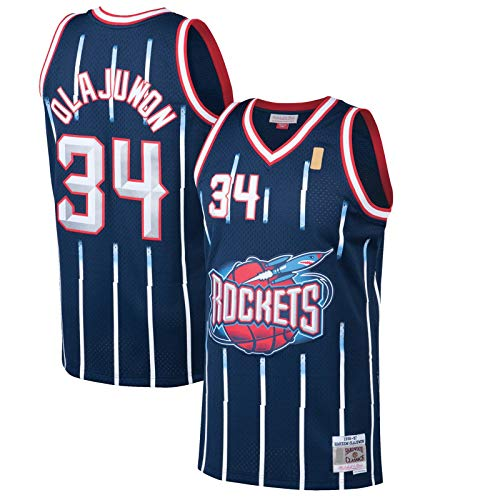 GSDAA Hakeem Clothing Olajuwon Sudadera Houston Basketball Jersey Rockets Camiseta #34 Hardwood Classics Swingman Jersey Azul Marino - Edición Icono-XXL