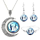 Jack and Sally Nightmare Before Christmas Moon Pendant Charm Crescent Necklace Bracelet Earring Gift for Women (Jack and sally jewelry set)