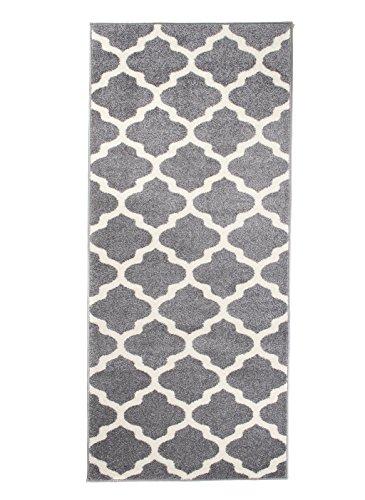 Carpeto Rugs Läufer Flur Teppich Modern Grau 70 x 200 cm Marokkanisches Muster Kurzflor Furuvik Kollektion