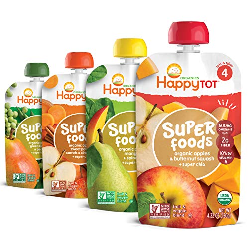 Happy Tot Organics Stage 4 Superfoods Variety Pack, 4.22 Ounce Pouch (Pack of 16) Green Beans/Pear/Pea, Sweet Potato/Apple/Carrot/Cinnamon, Apple/Butternut/Spinach/Mango/Pear (Packaging May Vary)