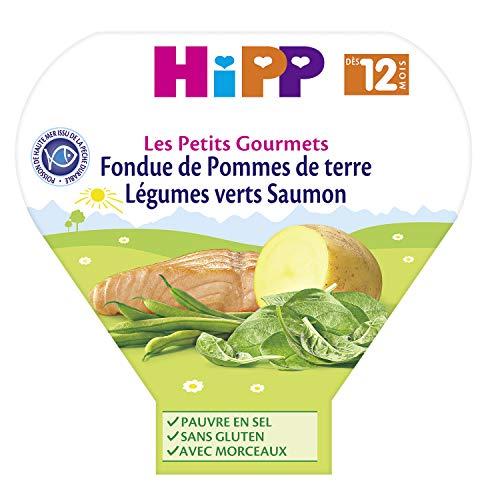 Hipp Biologique Fondue de Pommes de terre Légumes verts Saumon - 6 assiettes de 230g
