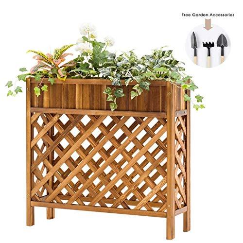 SXYULQQZ Rechthoekige Houten Plant Pot Houder Plank met Lattice, Tuinplantenrek voor Wijngaarden Klimmen Bloem 37′x11′′x35′′