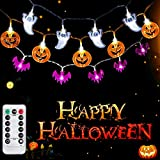 SYIHLON Set of 3 Halloween Decorations Lights with Remote,8 Modes 90 LEDs IP65 Waterproof Battery Operated Pumpkin Bat Ghost Fairy String Lights for Window Porch Bar Outdoor Indoor Halloween Decor