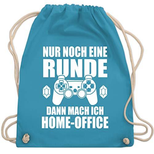 Shirtracer Sonstige Berufe - Nur noch eine Runde dann mach ich Home-Office weiß - Unisize - Hellblau WM110 - Turnbeutel und Stoffbeutel aus Baumwolle