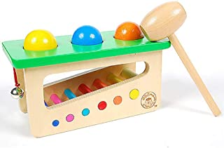 HTJSDC Children's toy wooden door hammer ball bell as music toy new green