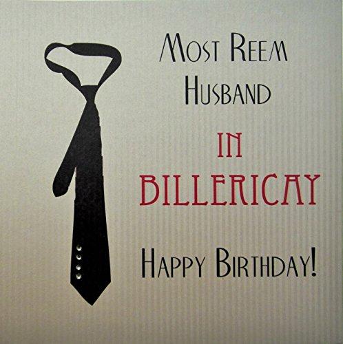 witte katoenen kaart Meest Reem Echtgenoot in Billericay Handgemaakte Verjaardagskaart met Zwarte Tie