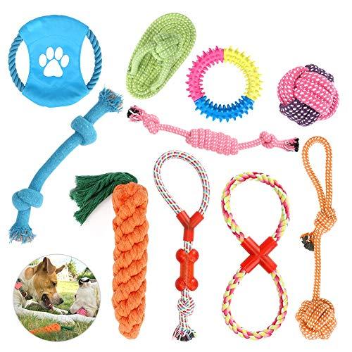 CestMall Hundespielzeug 10pcs Kauspielzeug Interaktives Spielzeug Set Intelligenz Hundeseile Spielset Seil mit geflochtem Ball aus Baumwolle Zahnreinigung für große mittelere kleine Hunde und Welpen