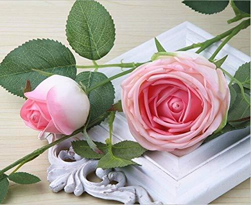 N / A Llzpl Rosas de Seda de 90 cm, Flores Artificiales Que tocan el Real Madrid, 1 Gran 1 Ramo de Flores Falsas Cabeza de peonía decoración de Boda Familiar, decoración de Interiores, Rosa Rosa