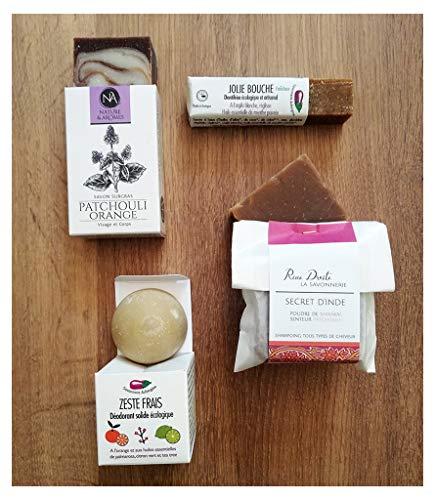 4 Cosmétiques bio solides - zéro déchet et made in France. Déodorant, Shampoing, Dentifrice et Savon, pour des mois d'utilisation.