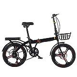 OFAY Bicicleta Plegable Unisex De 20 Pulgadas Shimano 7 Velocidades Revoshift Rueda Libre Cambio De Marcha Bicicleta Fácil Sin Herramientas Plegable,Negro,20 Inches A