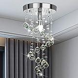 Elegant Spiral Flush Mount Chandelier,Modern Crystal Raindrop Chandelier Crystal Ball Fixture Pendant Ceiling Lamp Lighting Fixtures for Bathroom,Bedroom, Hallway, LivingRoom, Dining, 8''x15.8''