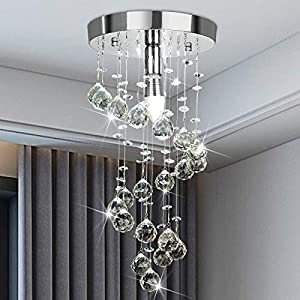 Elegant Spiral Flush Mount Chandelier,Modern Crystal Raindrop Chandelier Crystal Ball Fixture Pendant Ceiling Lamp Lighting Fixtures for Bedroom, Hallway, LivingRoom, 8''x15.8'' of CRYSTOP