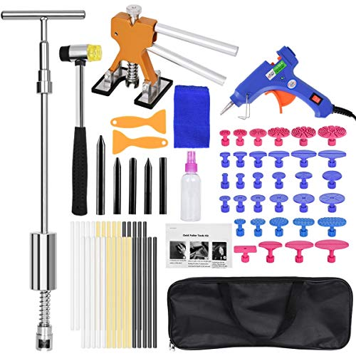Auto Body Dent Removal Repair Tools Kit 78 PCS, Paintless Cars Body Dent Puller Remover Tool, Dent Lifter Removal T Puller Fix Tools with Tool Bag for Car Body Motorcycle Refrigerator