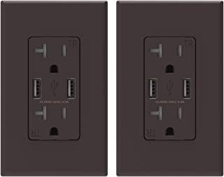 (2 Pack, Brown) ELEGRP USB Outlet Wall Charger, Dual High Speed 4.0 Amp USB Ports with Smart Chip, 20 Amp Duplex Tamper Resistant Receptacle Plug NEMA 5-20R, Wall Plate Included, UL Listed