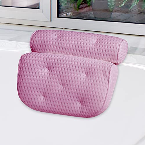 Bath Pillow, Luxury Bathtub Pillow, Ergonomic Spa Bath Pillow for Tub with 4D Mesh Technology and 7 Suction Cups, Tub Pillow for Neck, Head, Shoulder and Back Support, Fits All Bathtub, Home Spa(Pink)